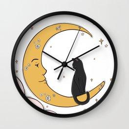 Black Cat on the Moon Wall Clock
