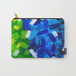 Messy Stripes Abstract Acrylic Painting Layers Of Colorful Green Blue Yellow Paint Carry-All Pouch