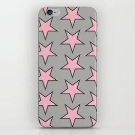 Stars pattern pink on grey iPhone Skin