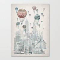 inspirational Canvas Prints featuring Voyages Over New York by David Fleck