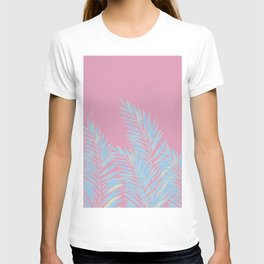 Palm Leaves Blue And Pink T-shirt