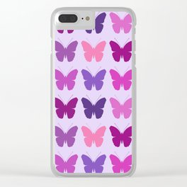 Butterly Silhouettes 3x3 Pinks Purples Mauves Clear iPhone Case
