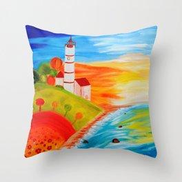 Lighthouse Sunset Throw Pillow