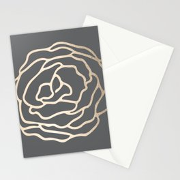 Rose White Gold Sands on Storm Gray Stationery Cards