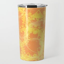 Spring pastels gently orange and yellow circles and ellipses with the image of abstract flowers. Travel Mug