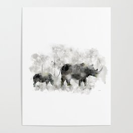 Rhino and Calf Poster