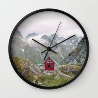 mint Wall Clocks featuring Mint Hut by Kevin Russ