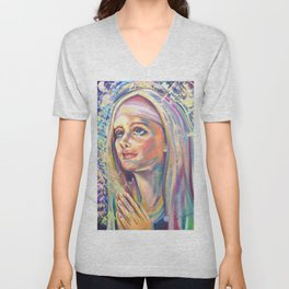 Saint Clare of Assisi, potrait Unisex V-Neck