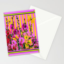 YELLOW BUTTERFLIES  PINK FLORAL GARDEN  ABSTRACT Stationery Cards