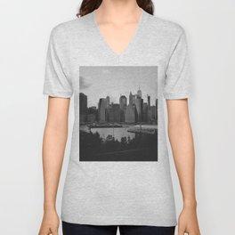 Black and White Manhattan Views Unisex V-Neck