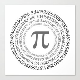 The Pi symbol mathematical constant irrational number on circle, greek letter, background Canvas Print