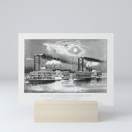 Great Mississippi Steamboat Race - From New Orleans to St. Louis - 1870 Mini Art Print