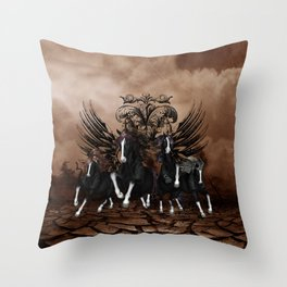 Awesome wild horses Throw Pillow