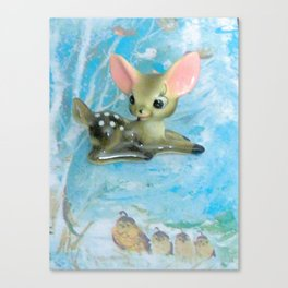 bambi and the quails Canvas Print