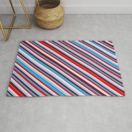 Eyecatching Sky Blue, Dark Red, Deep Sky Blue, Red & Lavender Colored Lines/Stripes Pattern Rug