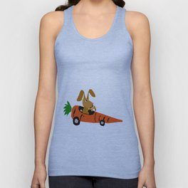 Funny Brown Bunny Rabbit Driving Carrot Car Original Artwork Unisex Tank Top