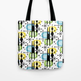 Retro Atomic Mid Century Pattern Yellow Green and Turquoise Tote Bag