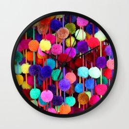 Rainbow Pom-poms (Vertical) Wall Clock