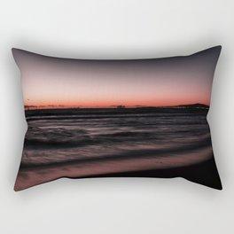 Sunset Shades of Magenta Beach Ocean Seascape Landscape Coastal Wall Art Print Rectangular Pillow
