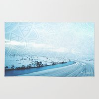 iceland Area & Throw Rugs featuring Iceland by Inga Ink Art