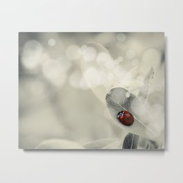 Ladybug in the Snow Metal Print