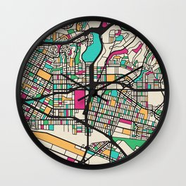 Colorful City Maps: East Los Angeles, California Wall Clock