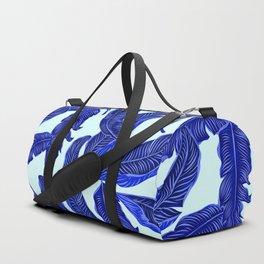 Banana leaves tropical leaves blue white #homedecor Duffle Bag