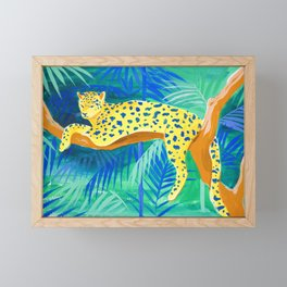 Leopard on Tree Framed Mini Art Print