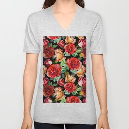 Hand painted black red watercolor roses floral Unisex V-Neck