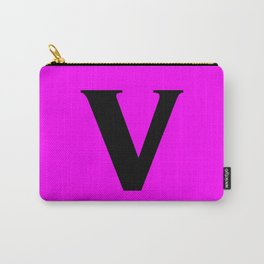 v (BLACK & FUCHSIA LETTERS) Carry-All Pouch