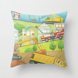 Trucks at Work Throw Pillow
