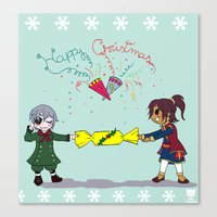 kuroshitsuji Canvas Prints featuring Ciel and Soma's Xmas by neko-productions