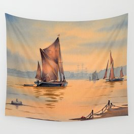 Thames Barges At Greenwich London Wall Tapestry