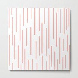 Leitungen Minimalist Pink and White Interrupted Line Pattern Metal Print