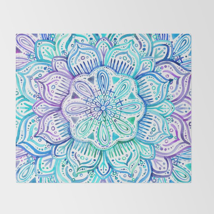 Iridescent Aqua and Purple Watercolor Mandala Throw Blanket