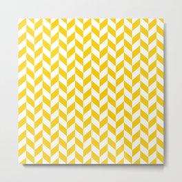 Yellow Herringbone Pattern Metal Print