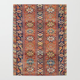 Southwestern Farmhouse I // 19th Century Colorful Red Yellow Blue Green Aztec Farm Stars Pattern Poster