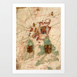Vintage Map of The British Isles (1600) Art Print