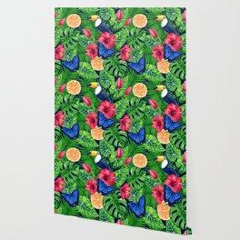 Toucan and tropical garden watercolor Wallpaper