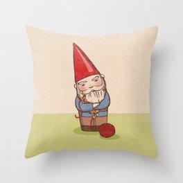 Knitting Gnome Throw Pillow