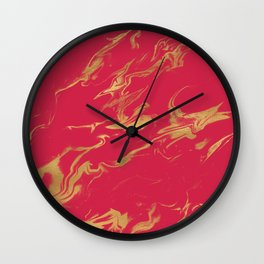 Hot Pink Gold Marble Wall Clock