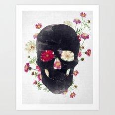 Skull Grunge Flower Art Print