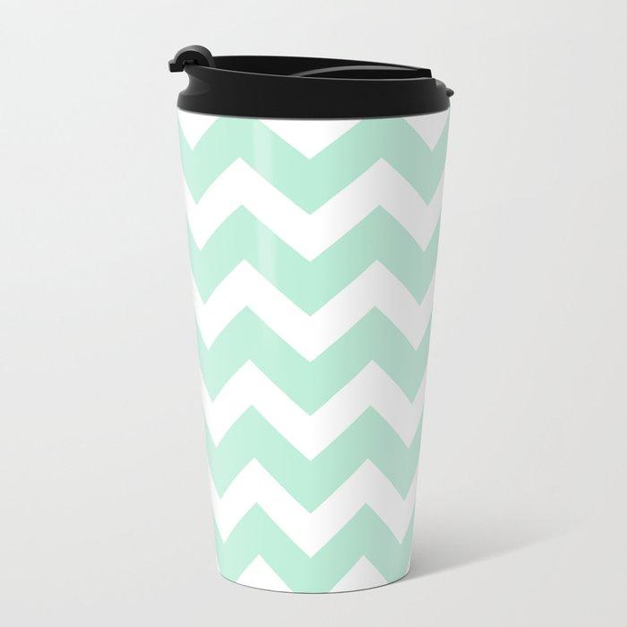 Chevron Mint Green & White Metal Travel Mug