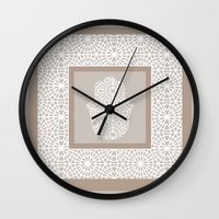 islam Wall Clocks featuring Hamsa in morrocan pattern by NoMoreWinters