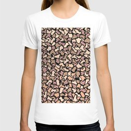 Fishnet and Skin Tone Wobbly Mosaic Tiles Pattern T-shirt