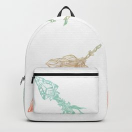 Arrows Turquoise Coral on White Backpack