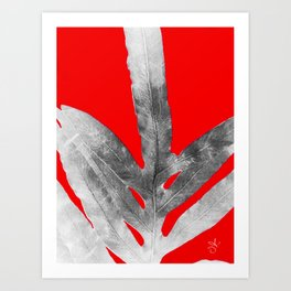 Green Fern on Red Inverted Art Print