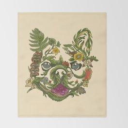 Botanical French Bulldog Throw Blanket