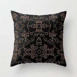 Elegant gold embellishments on black Throw Pillow