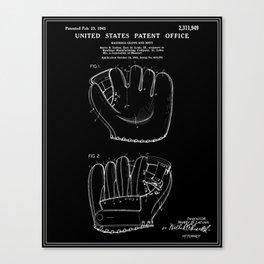 Baseball Glove Patent - Black Canvas Print
